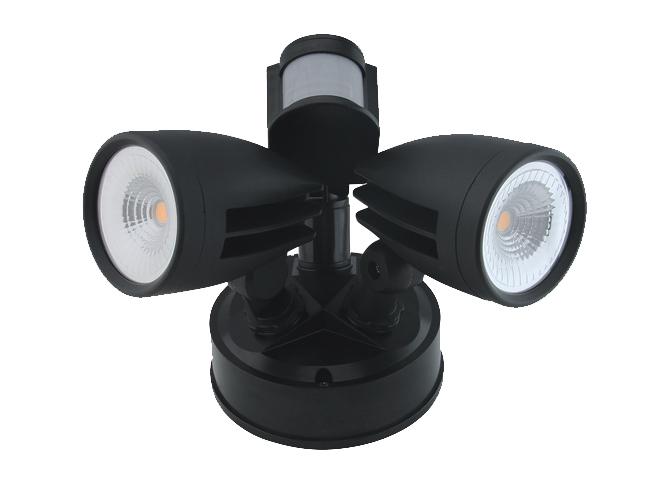Lanark Sentry Twin Sensor Spot Light 4000K SENTRYBLK26W4KS